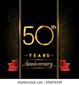 fifty years anniversary celebration logotype. 50th anniversary logo with confetti golden colored and red ribbon isolated on black background, vector design for greeting card and invitation card