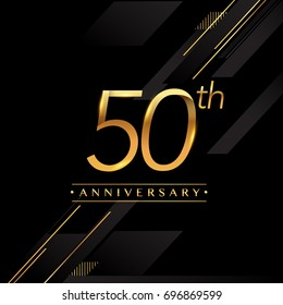 fifty years anniversary celebration logotype. 50th anniversary logo golden colored isolated on black background, vector design for greeting card and invitation card.