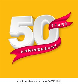 fifty years anniversary emblem design template. Usable for your special day celebration, birthday and invitation. Celebrate great moment of company