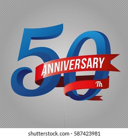 fifty years anniversary logo with red ribbon, 50th years celebration