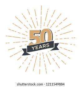 Fifty years anniversary retro vector emblem isolated template. Vintage logo fiftieth 50th years with ribbon and fireworks on white background