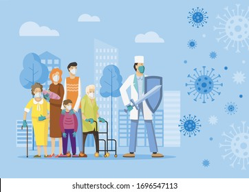 Fight against covid-19 corona virus. Medic protects people from the epidemic concept. Stop epidemic. Flat vector illustration.