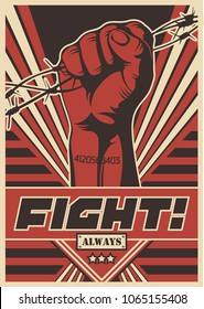 Fight Always! Vector Propaganda Poster. Stylization under the Obey Series of Posters