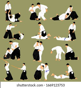 Fight between two aikido fighters vector illustration. Sparring on training action. Traditional self defense skills, martial art exercising concept. Aikido practice pose. Sparing duel demonstration.