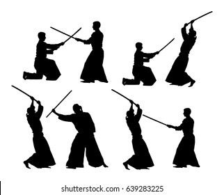 Fight between two aikido fighters vector silhouette symbol illustration. Sparring on training action. Self defense, defence art exercising concept. Sparing duel between opponents.