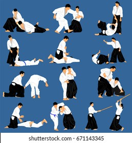 Fight between two aikido fighters vector symbol illustration. Sparring on training action. Self defense, defence art exercising concept. Big group of many aikido practice pose. Sparing duel practicing