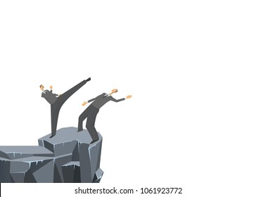 A fight between two businessmen, one pushes the other into the abyss. Concept on the topic of competition. Business vector illustration.