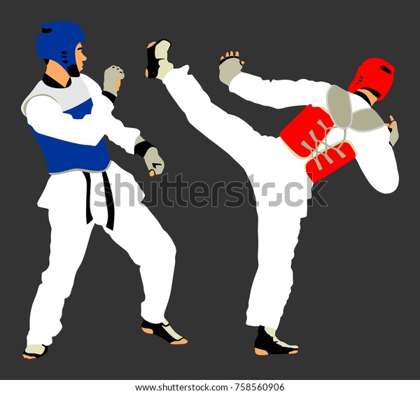 Fight Between Two Taekwondo Fighters Vector Stock Vector