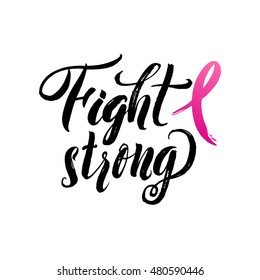 Fight Cancer. Vector Breast Cancer Awareness Calligraphy Poster Design. Stroke Pink Ribbon.