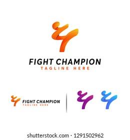 Fight Champion logo designs concept vector, Fight Club Karate Kickboxing Taekwondo Logo