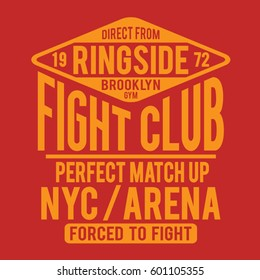 Fight club boxing sport athletic typography, tee shirt graphics, vectors