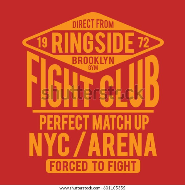 Fight Club Boxing Sport Athletic Typography Stock Vector