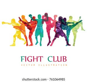 Fight club. Boxing vector illustration. Boxers silhouettes. Athletes image composed of particles.