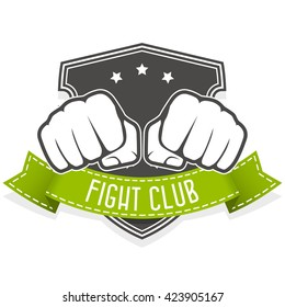 Fight club emblem with two fists and banner