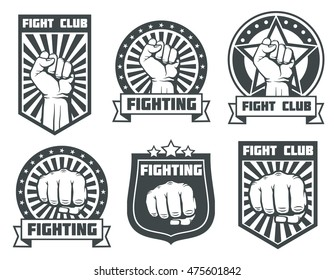 Fight club with fist vintage labels, logos, emblems vector set. Boxing sport, kickboxing logotype illustration