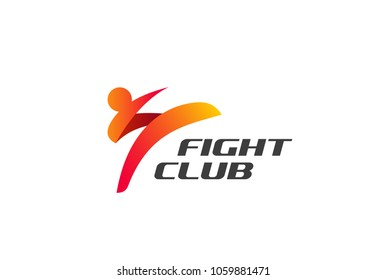 Fight Club Karate Kickboxing Taekwondo Logo design vector template.  Man doing High Kick Combat Logotype concept icon.