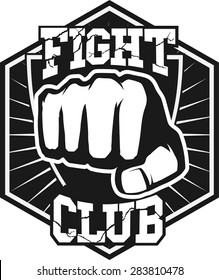 Fight club MMA UFC Mixed martial arts fighting logo stamp