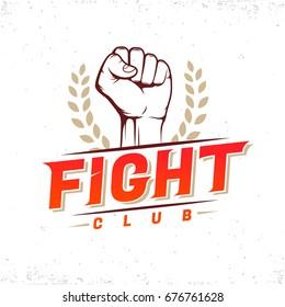 Fight club modern logo!Fist with laurel wreath!