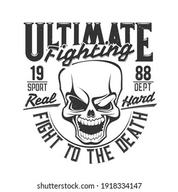 Fight club skull t shirt print, boxing or MMA wrestling vector icon. Street fighting or boxer club emblem of skull with fist punch eye or shiner, fighters sport and athletic department t-shirt print