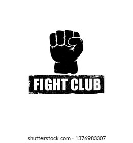 fight club vector logo with grunge black man fist isolated on white background. MMA Mixed martial arts concept design template. Fighting club label for print on tee