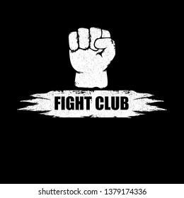 fight club vector logo with grunge white man fist isolated on black background. MMA Mixed martial arts concept design template. Fighting club label for print on tee