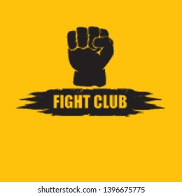 fight club vector logo with grunge white man fist isolated on orange background. MMA Mixed martial arts concept design template. Fighting club label for print on tee