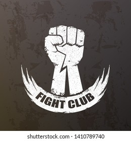 fight club vector logo with grunge white man fist isolated on grunge grey wall background. MMA Mixed martial arts concept design template. Fighting club label for print on tee