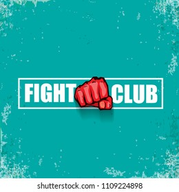 fight club vector logo with red man fist isolated ongrune azure background. MMA Mixed martial arts concept design template