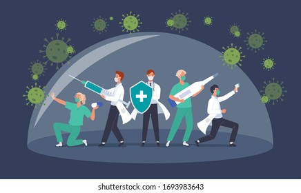 Fight with covid-19 corona virus concept. Doctor team or medical health care professionals fighting with coronavirus pandemic. Vector illustration in a flat style
