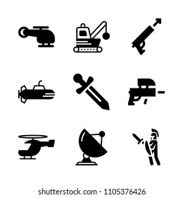 fight, dismantling, battle and marine icons in War vector set. Graphics for web and design