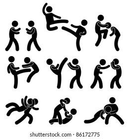 Fight Fighter Muay Thai Boxing Karate Taekwondo Wrestling Kick Punch Grab Throw People Icon Sign Symbol Pictogram