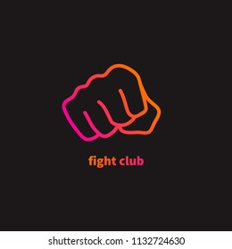 Fight, fist icon, clenched fist, hitting target. Vector illustration