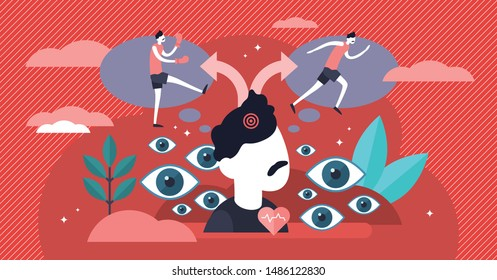Fight or flight vector illustration. Flat tiny danger response persons concept. hyperarousal stress situation reaction to perceived harmful danger and threat. Hormones release process visualization.