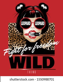 Fight for freedom. Wild thing. Vector hand drawn illustration of girl biting pomade isolated. Creative  artwork. Template for card, poster, banner, print for t-shirt, pin, badge, patch.