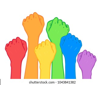 Fight for gay rights. Human hands (fists) raised up. Rainbow color Vector illustration isolated on white. Flag of LGBT community. greeting cards, posters, patches, prints