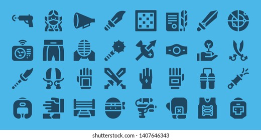 fight icon set. 32 filled fight icons. on blue background style Simple modern icons about  - Water gun, Radar, Weapon, Boxing helmet, Ninja, Boxing shorts, Sword, Martial arts