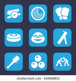 Fight icon. set of 9 filled fight icons such as radar, ninja, judo, smoke bomb, mace, cannon, canon ball