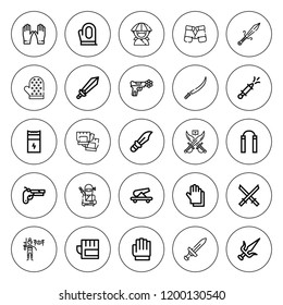 Fight icon set. collection of 25 outline fight icons with cannon, boxing gloves, dagger, glove, gloves, katana, martial arts, gun, nunchaku, ninja icons. editable icons.