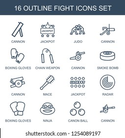 fight icons. Trendy 16 fight icons. Contain icons such as cannon, Jackpot, judo, boxing gloves, chain weapon, smoke bomb, mace, radar, ninja, canon ball. fight icon for web and mobile.