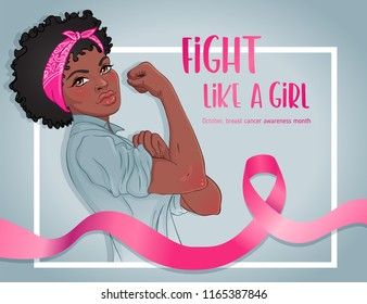 Fight like a girl. African girl with her fist raised up. Breast Cancer Awareness Month symbol. Vector illustration. Design inspired by classic vintage feminist poster. International health campaign.
