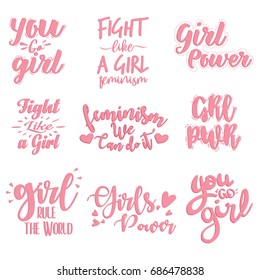 Fight Like A Girl, GRL PWR etc hand lettering prints set. Vector calligraphic collection of feminist movement for poster, banner etc.