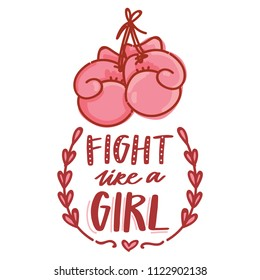 Fight like a girl. Vector illustration with lettering text and doodles and pink boxing gloves. Hand drawn art for web, stickers, emoji, print, card, poster