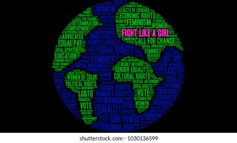 Fight Like a Girl word cloud on a black background.