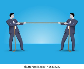 Fight for market share business concept. Two businessmen in suits standing against each other, pulling a rope. Every businessman is trying to overcome his rival.