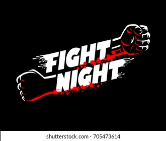 Fight night mma, wrestling, fist boxing championship for the belt event poster logo template with lettering