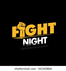 Fight night. Modern professional fighting poster template logo design with fist. Isolated fight logotype vector illustration.