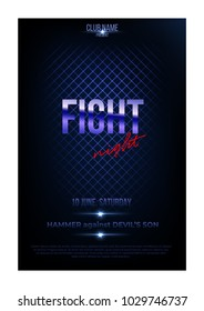 Fight night poster template. Vector golden words on dark blue background.