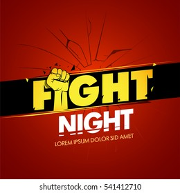 Fight night red version advertisement sport template. Modern professional fighting poster template logo design with fist. Isolated fight logotype vector illustration.