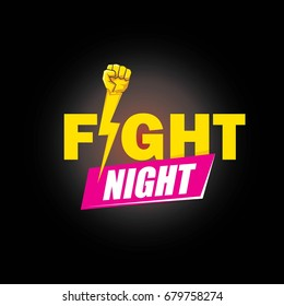Fight night vector modern poster with text and strong fist. mma, wrestling or fight club emblem design template