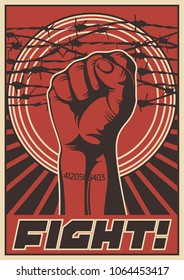 Fight Propaganda Poster. Stylization under the Obey Series of Posters